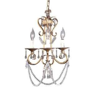 Elegant Tradition Collection Hanging Three Light Fixture In Oxide Gold