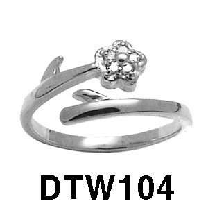14k Diamond Flower Toe Ring (white gold) Jewelry