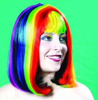 Rainbow Pride Barbara Multi Color Costume Wig *New*