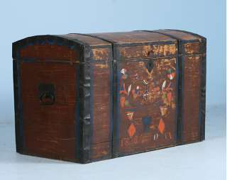 Antique Hand Painted Rosemaling Russian Trunk Dated 1884
