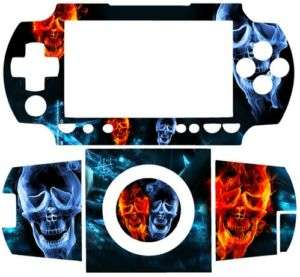 Flame Skull SKIN VINYL STICKER for SONY PSP 1000 FAT