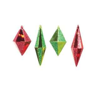 Club Pack of 12 Christmas Whimsy Red and Green Diamond Shaped Glass