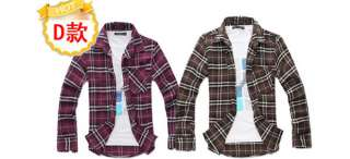 10 Colors Mens Spring Casual Plaids Shirts Long Sleeve Size M XL