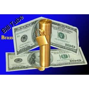 Bill Tube   Brass   Close Up Money Magic Trick Toys & Games