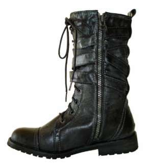 Military Chic Distressed Mid Calf Lace up Combat Boots