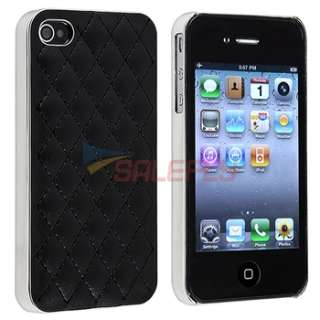 Black Leather w/ Silver Hard Case Cover+PRIVACY FILTER Guard for