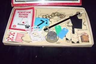 Vtg 1940s Redhill MAGIC TRICK Toy Set Wand Card Hindu Chain Set