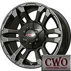 16 Black MB TKO Wheels Rims 6x139.7 6 Lug Chevy GMC 1500 Titan Tundra