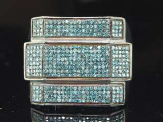 MENS WHITE GOLD FINISH PAVE BLUE DIAMOND PINKY RING