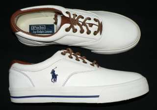 Polo Ralph Lauren Vaughn mens shoes soft leather sneakers new white