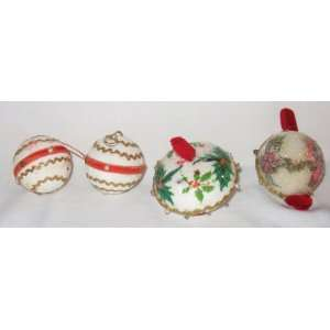 4 Vintage Decorated Strofoam Ball Christmas Tree Ornaments