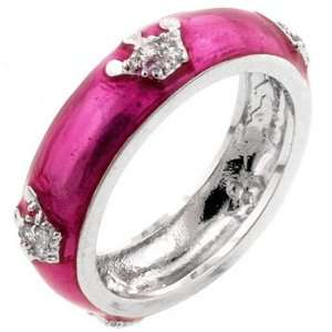 HOT PINK ENAMEL RING SIZES 5 10 Crown Jewelry