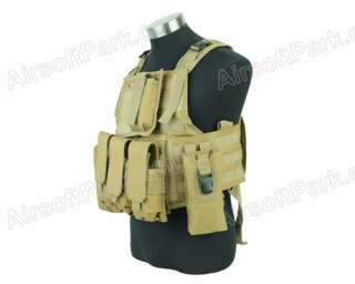 Airsoft Tactical Combat USMC MOLLE Assault Vest   Tan