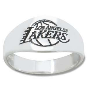 Angeles Lakers Mens Sterling Silver Cigar Band Ring
