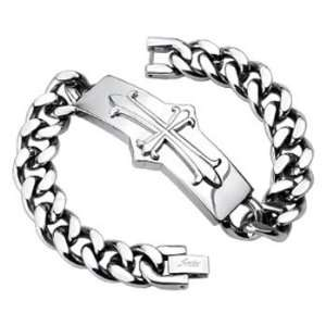 316L Stainless Steel Chain Bracelet with Medieval Cross