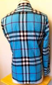 NEW *Burberry Brit* Blue Plaid Print Casual Button Up Shirt Size