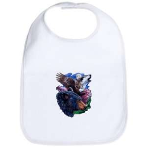 Baby Bib Cloud White Bear Bald Eagle and Wolf