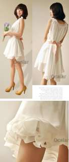 New Korean Sweet Women Chiffon Cute Mini Dress Casual Sleeveless Free