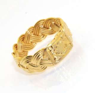 Technibond Diamond Cut Woven Wheat Ring 14K Yellow Gold Clad Sterling