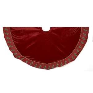52 Red with Green Leaf Border Christmas Tree Skirt
