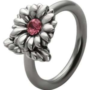 Captive Bead Ring w/ Rose Pink CZ Gem Flower Charm Jewelry