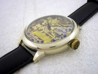 SWISS WATCH UNIQUE ART DECO GOLD PLATED MEN'S OMEGA SKELETON