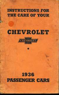 1936 Chevrolet Car Original Owners Manual Book