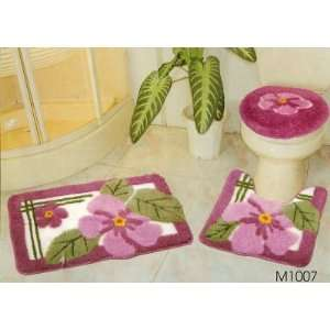 PC SETS3D CARPET FLORAL PINK M1007 Bathroom Mat Rug Set