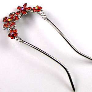 1pc Austrian rhinestone crystal flower hair fork