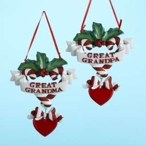 Club Pack of 12 Great Grandma & Grandpa Christmas Ornaments for