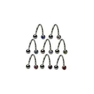 Double Jewel Spiral Belly Button Rings (14G) Jewelry