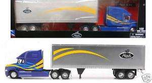 NEW RAY MACK VISION SEMI W/ CONTAINER 1/32 BLUE 12853