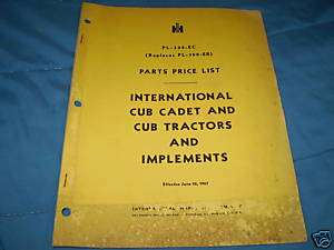 INTERNATIONAL CUB CADET & IMPLEMENTS PRICE LIST