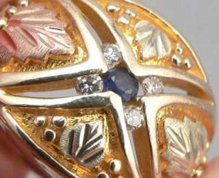 & 12K Solid GOLD Sapphire DIAMOND RING Mens RUSHMORE Co. RGC