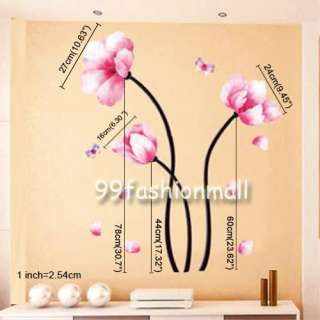 DIY Pink Peach Flower 2 Butterfly Art Mural Vinyl Wall Sticker Decal