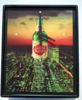 Carta Blanca Beer Sign Lighted Clock Vintage 1980