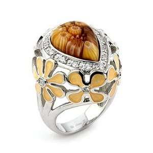 Brown Drop Murano Glass Millefiori Sterling Silver Ring