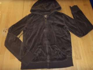 Womens EXPRESS Brown Velour HOODIE Jacket Small W124