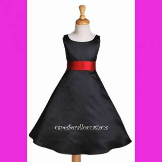 BLACK APPLE RED BRIDESMAID WEDDING FLOWER GIRL DRESS 12 18M 2 4 6 6x 8