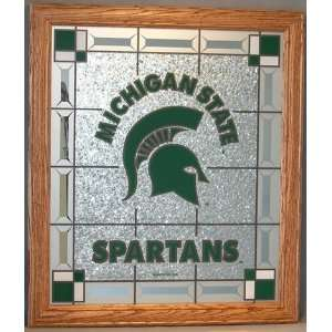 NCAA Michigan State Spartans Glass Wall Plaque