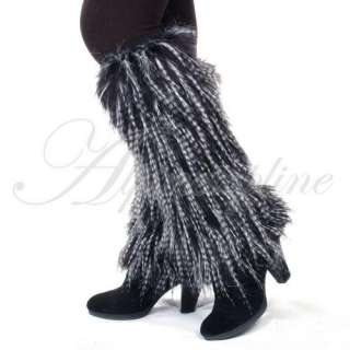 Ladies Faux Fur Leg Warmers Leggings Boots Cover Muffs