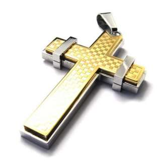 Mens Charm Stainless Steel Cross Pendant Necklace Chain