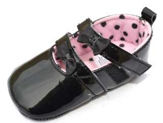 Black Mary Jane bows toddler baby girl shoes size 2 3