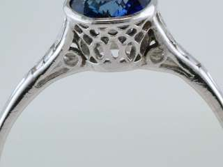 Vintage Antique .90ct Kashmir Blue Sapphire Platinum Art Deco