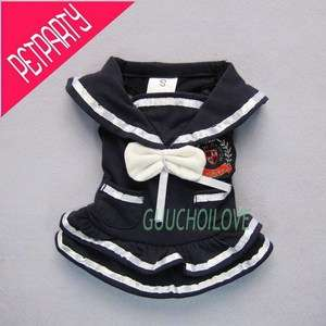 Nautical Sailor Girl For Dog Clothes Pet Dress Costumes Navy New Free
