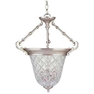 Hampton Bay 3 Light Hanging Brushed Nickel Bowl Pendant  DISCONTINUED