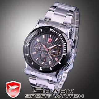 New SHARK 6 Hands Date Day Quartz Men Sport Steel Watch