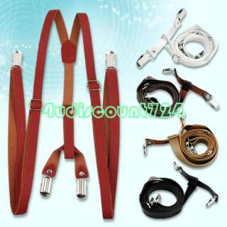 MEN CLIP ON PANTS BRACES Y BACK LEATHER SUSPENDER 5 Colors