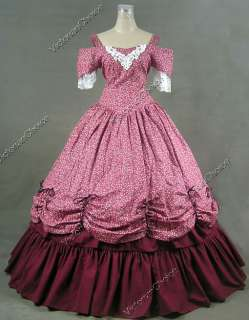 Southern Belle Civil War Cotton Lace Ball Gown Dress Prom 171 L