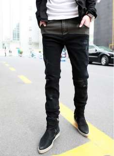 Korea New Fashion Mens Slim Fit Thickening Black Jeans KU0001